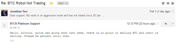 BTC Robot Not Trading